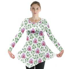 Rose Flower Pink Leaf Green Long Sleeve Tunic  by Alisyart