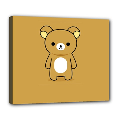 Bear Minimalist Animals Brown White Smile Face Deluxe Canvas 24  X 20   by Alisyart