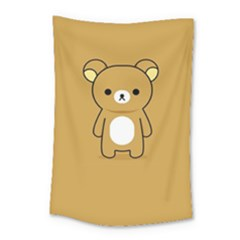 Bear Minimalist Animals Brown White Smile Face Small Tapestry by Alisyart