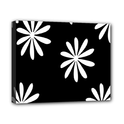 Black White Giant Flower Floral Canvas 10  X 8  by Alisyart