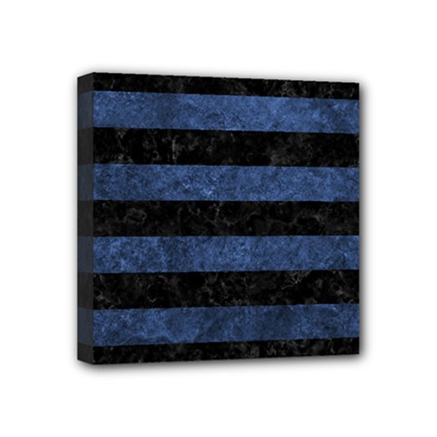 Stripes2 Black Marble & Blue Stone Mini Canvas 4  X 4  (stretched) by trendistuff