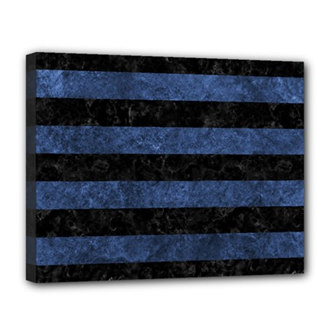 Stripes2 Black Marble & Blue Stone Canvas 14  X 11  (stretched) by trendistuff