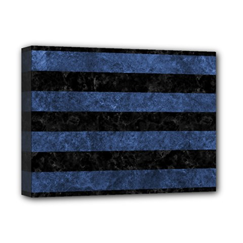 Stripes2 Black Marble & Blue Stone Deluxe Canvas 16  X 12  (stretched)  by trendistuff