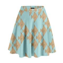 Fish Animals Brown Blue Line Sea Beach High Waist Skirt by Alisyart