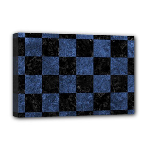 Square1 Black Marble & Blue Stone Deluxe Canvas 18  X 12  (stretched) by trendistuff