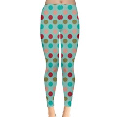 Large Circle Rainbow Dots Color Red Blue Pink Leggings  by Alisyart