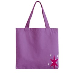 Purple Flagred White Star Zipper Grocery Tote Bag by Alisyart