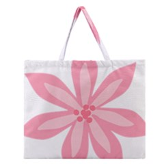 Pink Lily Flower Floral Zipper Large Tote Bag by Alisyart