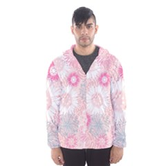 Flower Floral Sunflower Rose Pink Hooded Wind Breaker (men) by Alisyart