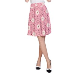 Pink Flower Floral A Line Skirt by Alisyart