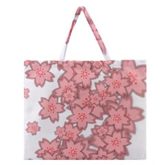 Flower Floral Pink Zipper Large Tote Bag by Alisyart