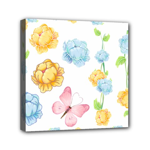 Rose Flower Floral Blue Yellow Gold Butterfly Animals Pink Mini Canvas 6  X 6  by Alisyart
