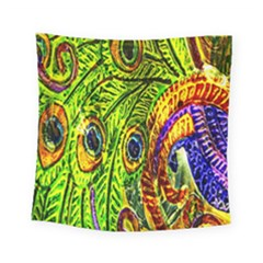 Peacock Feathers Square Tapestry (small) by Simbadda