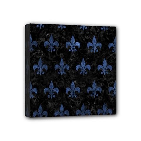 Royal1 Black Marble & Blue Stone (r) Mini Canvas 4  X 4  (stretched) by trendistuff