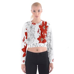 Poinsettia Flower Coloring Page Women s Cropped Sweatshirt by Simbadda