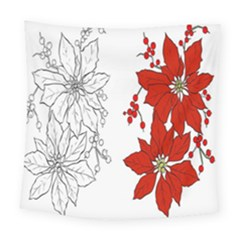 Poinsettia Flower Coloring Page Square Tapestry (large) by Simbadda