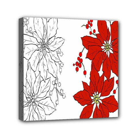 Poinsettia Flower Coloring Page Mini Canvas 6  X 6  by Simbadda