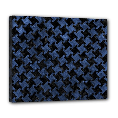Houndstooth2 Black Marble & Blue Stone Deluxe Canvas 24  X 20  (stretched) by trendistuff