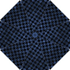 Houndstooth2 Black Marble & Blue Stone Hook Handle Umbrella (small) by trendistuff