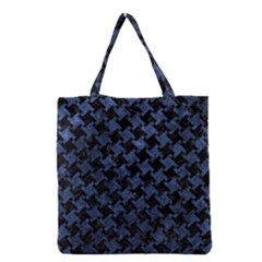 Houndstooth2 Black Marble & Blue Stone Grocery Tote Bag by trendistuff