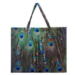 Peacock Jewelery Zipper Large Tote Bag by Simbadda