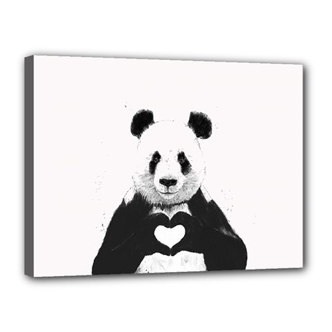 Panda Love Heart Canvas 16  X 12  by Onesevenart