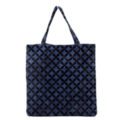 Circles3 Black Marble & Blue Stone (r) Grocery Tote Bag by trendistuff