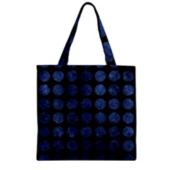 Circles1 Black Marble & Blue Stone Zipper Grocery Tote Bag by trendistuff