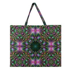 Digital Kaleidoscope Zipper Large Tote Bag by Simbadda