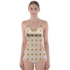 Pattern Background Retro Cut-Out One Piece Swimsuit