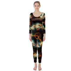 Science Fiction Energy Background Long Sleeve Catsuit by Simbadda