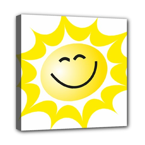 The Sun A Smile The Rays Yellow Mini Canvas 8  X 8  by Simbadda