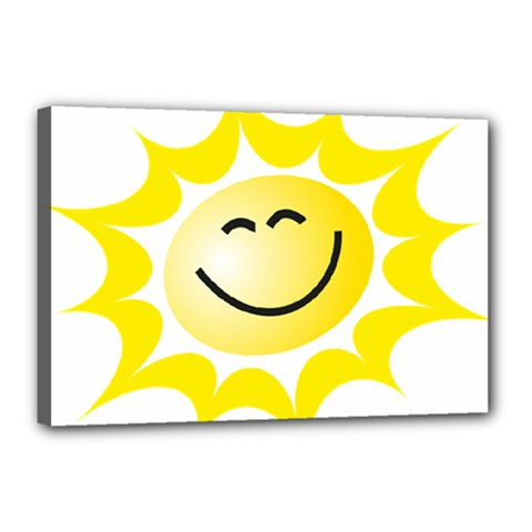 The Sun A Smile The Rays Yellow Canvas 18  X 12  by Simbadda