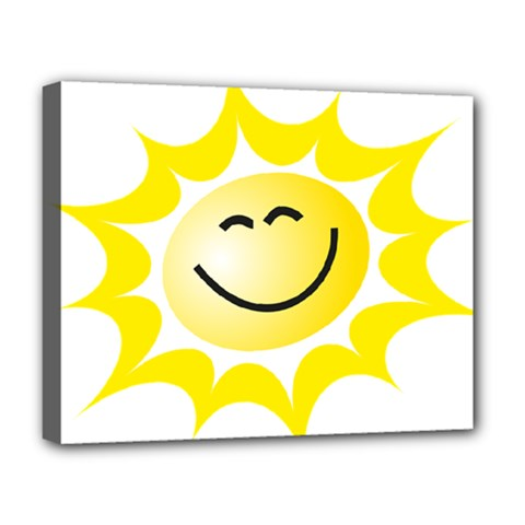The Sun A Smile The Rays Yellow Deluxe Canvas 20  X 16   by Simbadda