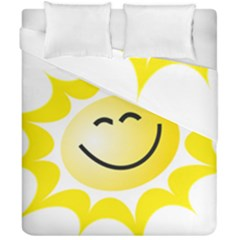 The Sun A Smile The Rays Yellow Duvet Cover Double Side (california King Size) by Simbadda