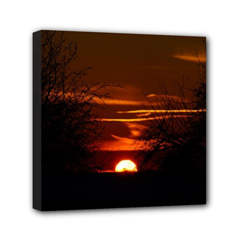 Sunset Sun Fireball Setting Sun Mini Canvas 6  X 6  by Simbadda