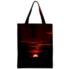 Sunset Sun Fireball Setting Sun Zipper Classic Tote Bag by Simbadda