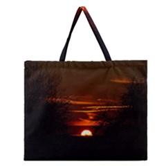 Sunset Sun Fireball Setting Sun Zipper Large Tote Bag by Simbadda
