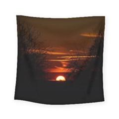Sunset Sun Fireball Setting Sun Square Tapestry (small) by Simbadda