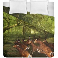 Red Deer Deer Roe Deer Antler Duvet Cover Double Side (king Size) by Simbadda