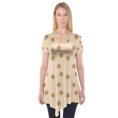 Pattern Gingerbread Star Short Sleeve Tunic  by Simbadda