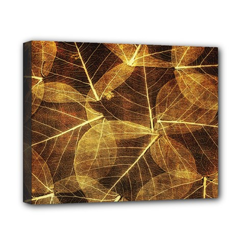 Leaves Autumn Texture Brown Canvas 10  X 8  by Simbadda
