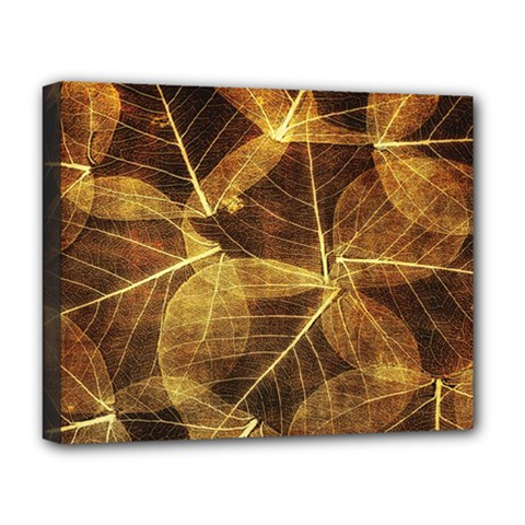 Leaves Autumn Texture Brown Deluxe Canvas 20  X 16   by Simbadda