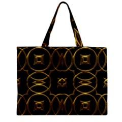 Black And Gold Pattern Elegant Geometric Design Medium Zipper Tote Bag by yoursparklingshop