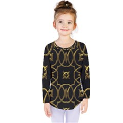 Black And Gold Pattern Elegant Geometric Design Kids  Long Sleeve Tee by yoursparklingshop