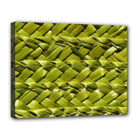 Basket Woven Braid Wicker Canvas 14  X 11  by Onesevenart