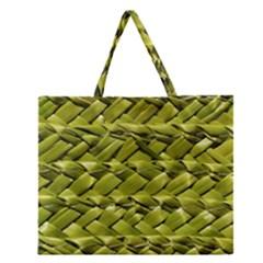 Basket Woven Braid Wicker Zipper Large Tote Bag by Onesevenart
