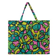 Circle Background Background Texture Zipper Large Tote Bag by Onesevenart