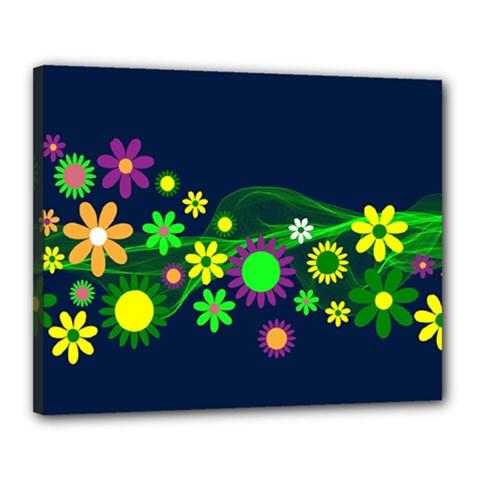 Flower Power Flowers Ornament Canvas 20  X 16  by Onesevenart