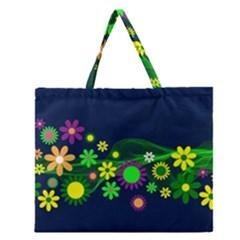 Flower Power Flowers Ornament Zipper Large Tote Bag by Onesevenart